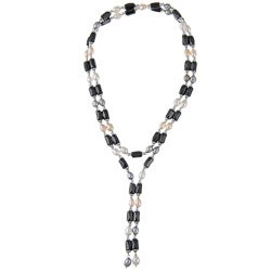 Miadora Silver Multi-colored Pearl and Hematite Magnetic Necklace/ Bracelet (4-5 mm)