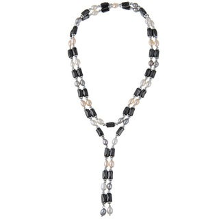 M by Miadora Silver Multi-colored Cultured Freshwater Pearl and Hematite Magnetic Necklace/ Bracelet (4-5 mm)