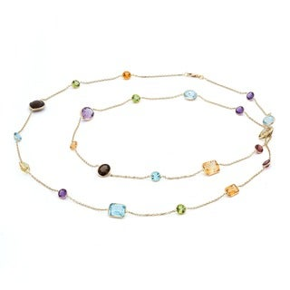 14k Yellow Gold Multi-gemstone Necklace