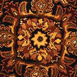 Handmade Classic Heriz Red/ Navy Wool Rug (3'6 Round)