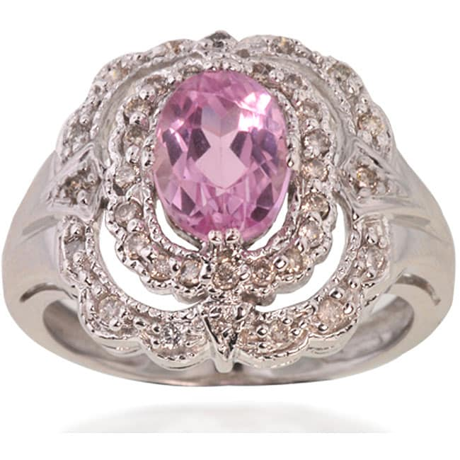 Michael Valitutti 14k Gold Kunzite/ 1/4ct TDW Diamond Ring