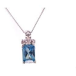Michael Valitutti 14k Gold Blue CZ and Diamond Necklace