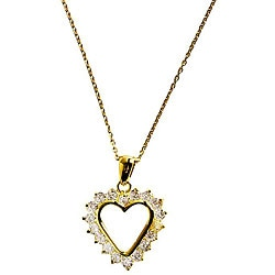 Simon Frank 14k Gold Overlay Diamoness Affection Heart Necklace