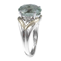 Miadora Silver and 14k Gold Green Amethyst Diamond Ring