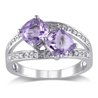 Miadora Silver Rose de France and Diamond Ring