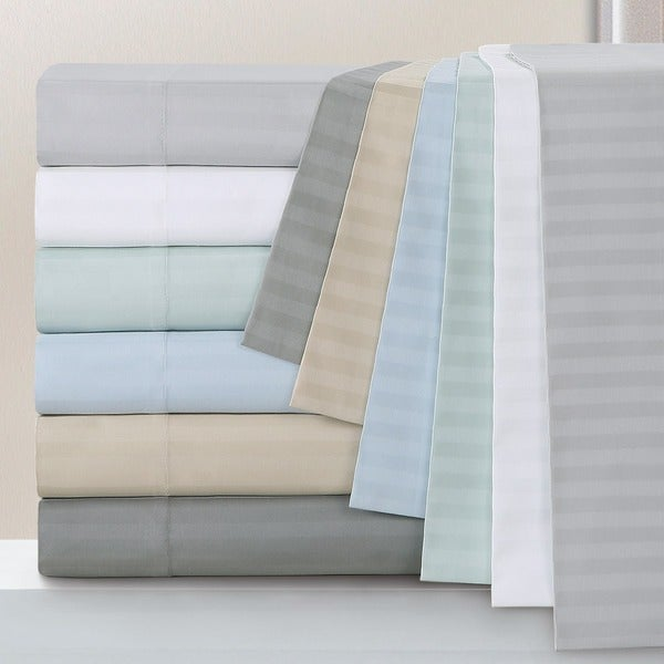 Echelon Home Egyptian Cotton 800 Thread Count Deep Pocket Stripe Cal-King Size Sheet Set in Ivory (As Is Item)