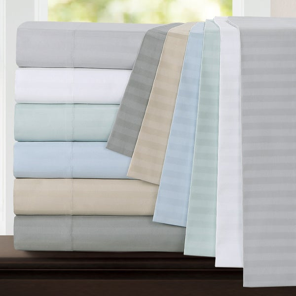 Echelon Home Egyptian Cotton 800 Thread Count Deep Pocket Stripe Queen Size Sheet Set in Dove Grey (As Is Item)