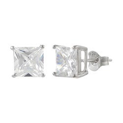 Journee Collection Sterling Silver Square CZ Basket Stud Earrings