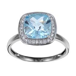 Miadora 14k Gold Blue Topaz and 1/10ct TDW Diamond Ring (H-I, I1-I2)