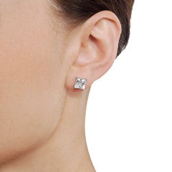 Tressa Sterling Silver 7mm Square Cubic Zirconia Stud Earrings