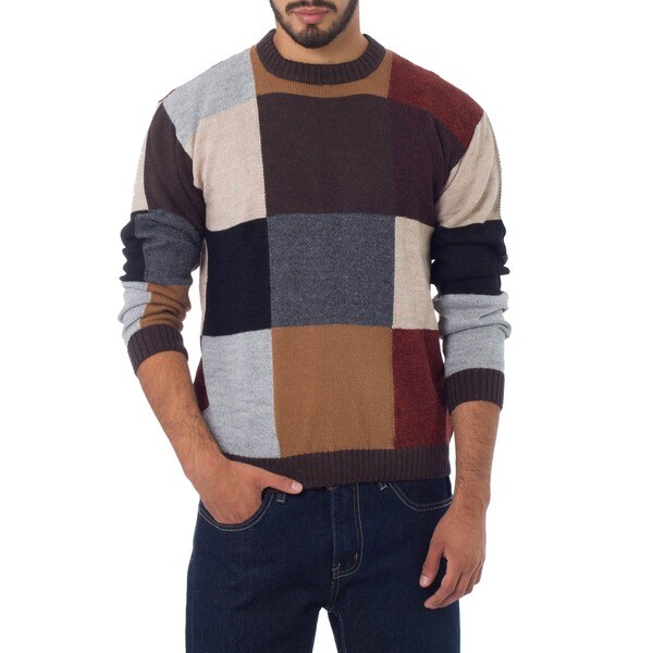 Longitudes and Latitudes Artisan Designer Handmade Black Gray, Tan Alpaca Blend Wool Crewneck Longsleeve Pullover Sweater (Peru)