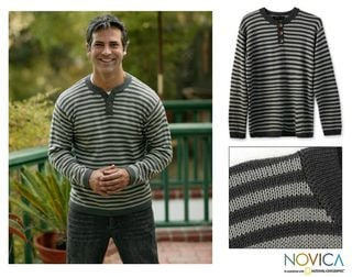 Alpaca Wool Men's 'Fine Horizon' Sweater (Peru)