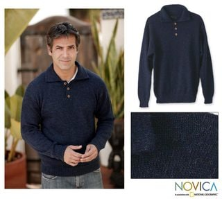 Alpaca Wool 'Ocean Blue' Men's Sweater (Peru)