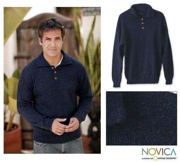 Alpaca Wool 'Ocean Blue' Men's Sweater (Peru)