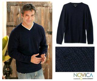 Alpaca Wool 'Oceanic' Men's Navy Blue Sweater (Peru)