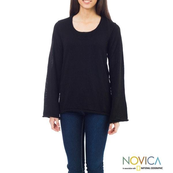 Alpaca 'Black Charisma' Wool Sweater (Peru)