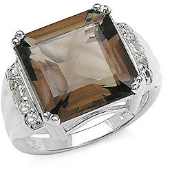 Malaika Sterling Silver Smokey Quartz/ White Topaz Ring