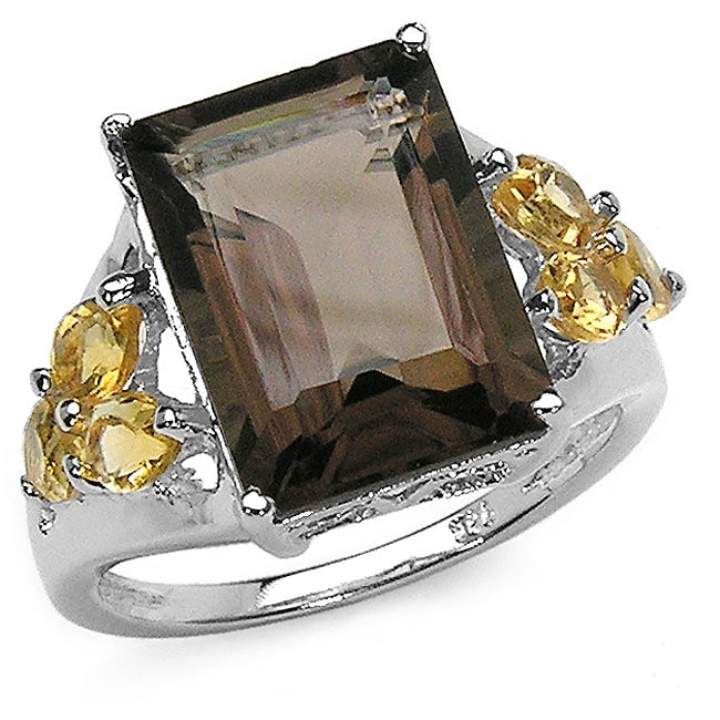 Malaika Sterling Silver Smokey Quartz and Citrine Silver Ring