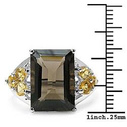 Malaika Sterling Silver Smokey Quartz and Citrine Silver Ring