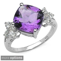 Malaika Sterling Silver Genuine Amethyst and White Topaz Silver Ring