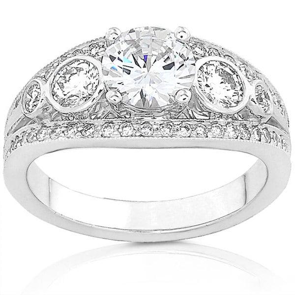 Annello 18k Gold 1 3/4ct TDW Round Vintage Design Diamond Ring (G-H, SI)