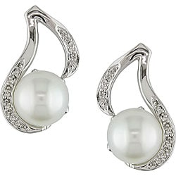 Miadora Sterling Silver FW Pearl and Diamond Accent Earrings (9-10 mm)