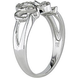 Miadora 10k White Gold 1/10ct TDW Diamond Heart Ring (I-J, I2-I3)
