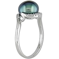 Miadora Silver Black FW Pearl and 1/10ct TDW Diamond Ring (I-J, I2-I3) (9-10 mm)