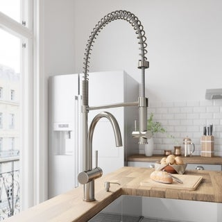 VIGO Solid Brass Stainless-Steel Pull-Down Spray Kitchen Faucet