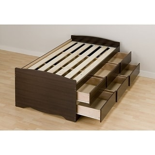 Espresso Tall Twin 6-drawer Captain's Platform Storage Bed