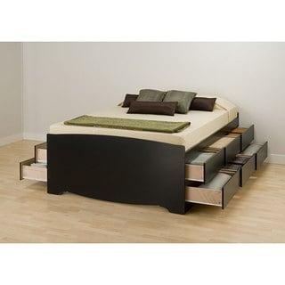 Black Tall Queen 12-drawer Captain's Platform Storage Bed
