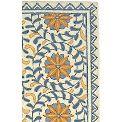 Safavieh Hand-hooked Majestic Ivory/ Blue Wool Runner (2'6 x 12')