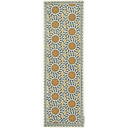 Hand-hooked Majestic Ivory/ Blue Wool Runner (2'6 x 6')