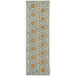 Safavieh Hand-hooked Majestic Ivory/ Blue Wool Runner (2'6 x 8')