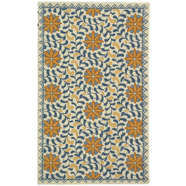 Safavieh Hand-hooked Majestic Ivory/ Blue Wool Rug (2'9 x 4'9)