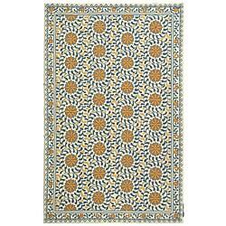 Safavieh Hand-hooked Majestic Ivory/ Blue Wool Rug (3'9 x 5'9)