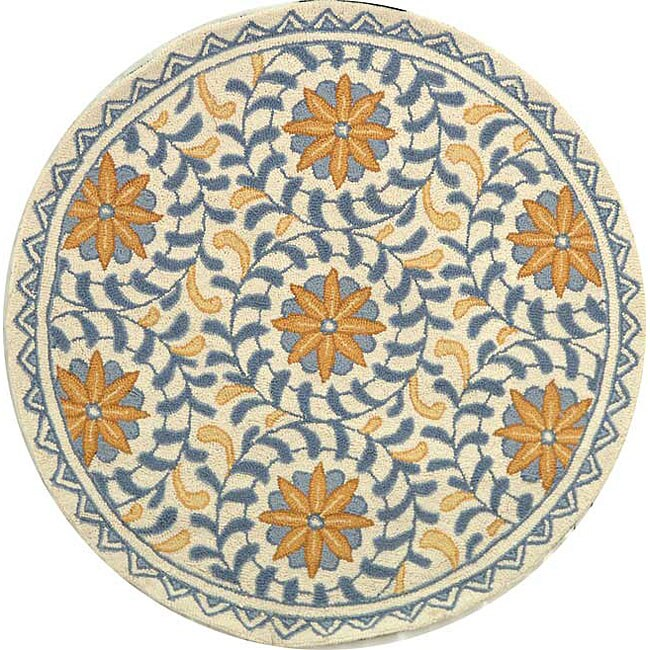 Safavieh Hand-hooked Majestic Ivory/ Blue Wool Rug (4' Round)