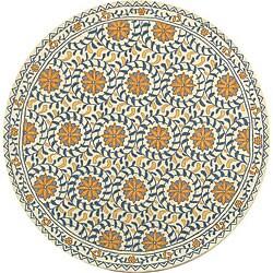 Safavieh Hand-hooked Majestic Ivory/ Blue Wool Rug (5'6 Round)
