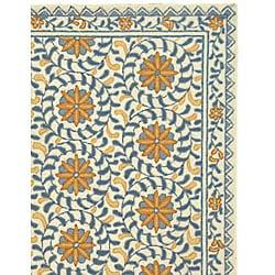 Safavieh Hand-hooked Majestic Ivory/ Blue Wool Rug (7'9 x 9'9)