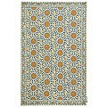 Hand-hooked Majestic Ivory/ Blue Wool Rug (7'9 x 9'9)