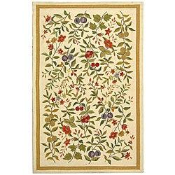 Hand-hooked Garden Ivory Wool Rug (7'9 x 9'9)