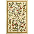 Hand-hooked Garden Ivory Wool Rug (7'9 x 9'9)