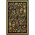 "Indoor Hand-hooked Garden Black Wool Rug (7'9"" x 9'9"")"