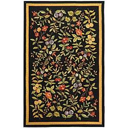 Indoor Hand-hooked Garden Black Wool Rug (7'9