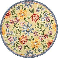 Hand-hooked Mosaic Ivory Wool Rug (5'6 Round)