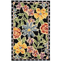 Safavieh Hand-hooked Mosaic Black Wool Runner (2'6 x 6')
