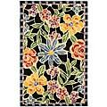 Hand-hooked Mosaic Black Wool Runner (2'6 x 6')