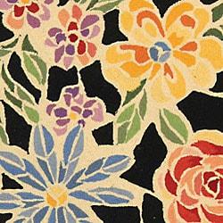 Safavieh Hand-hooked Mosaic Black Wool Rug (7'9 x 9'9)