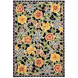 Hand-hooked Mosaic Black Wool Rug (7'9 x 9'9)
