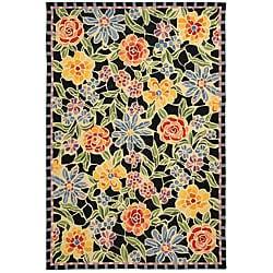 Hand-hooked Mosaic Black Wool Rug (8'9 x 11'9)
